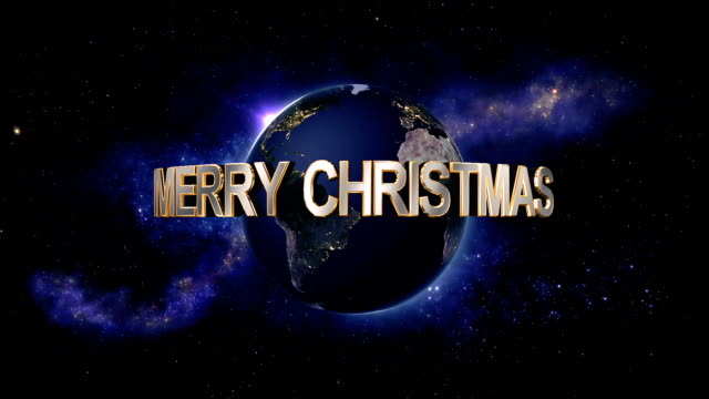 Merry Christmas title - the Earth from space showing all they beauty video