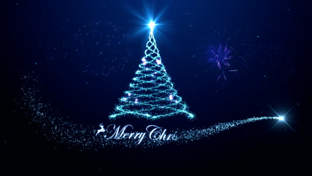 Merry christmas tree background with fireworks blue background