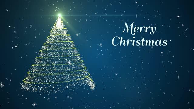 赤背景 3d レンダー 2021 のメリークリスマスツリーグローアニメーション雪片 - グリーティングカード点の映像素材/bロール
