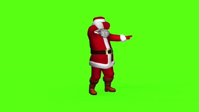 merry santa claus in a red suit is dancing. 3 d rendering on a green screen - babbo natale video stock e b–roll