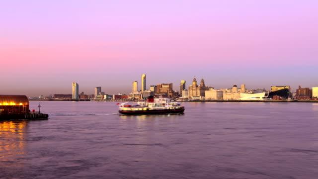Mersey Ferry, Liverpool skyline at dusk video