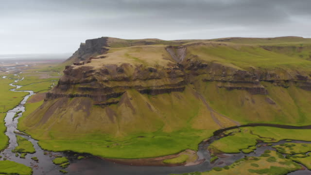 Mesa Mountain and River Landscape in Iceland
