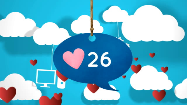 Message bubble icon with heart and other icons