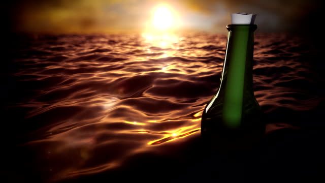 Message in a bottle floating through the sea. video