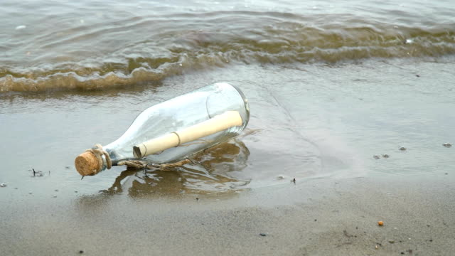 Message in a bottle on the seashore video