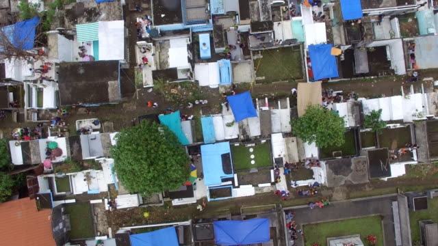 messy city public cemetery parking lot. turning right drone aerial shot - family trees stock videos and b-roll footage