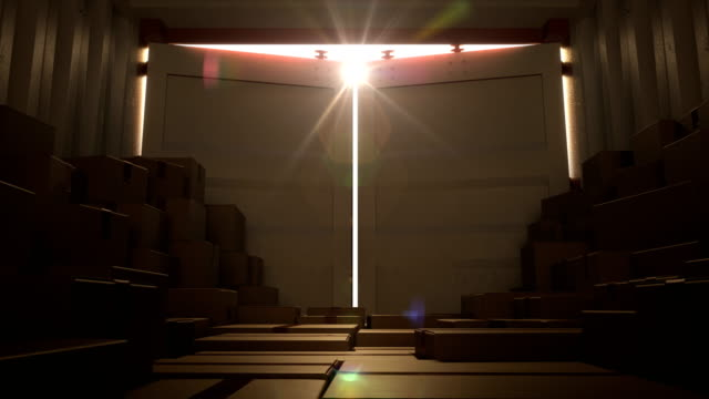 metalowe drzwi kontenerowe otwarcie na jasną scenę światła słonecznego. kontener transportowy otwarcie animacji 3d. koncepcja transportu. - zbiornik urządzenie przemysłowe filmów i materiałów b-roll