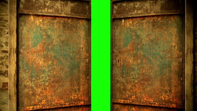 metal door opening to green screen animation - metal door opening to green screen gate stock videos & royalty-free footage