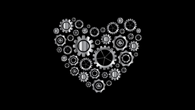 Metal heart from tech gears video animation video