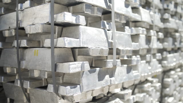 Metal ingots in Stock Warehouse. Billets for aluminium profile production at a metallurgical plant video