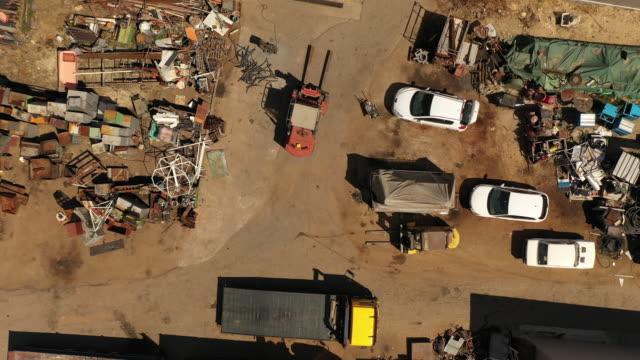 Metal junkyard from drone