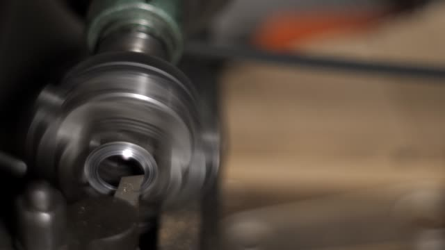 Metal Part in a Chuck of a Lathe. Cutter Chips video