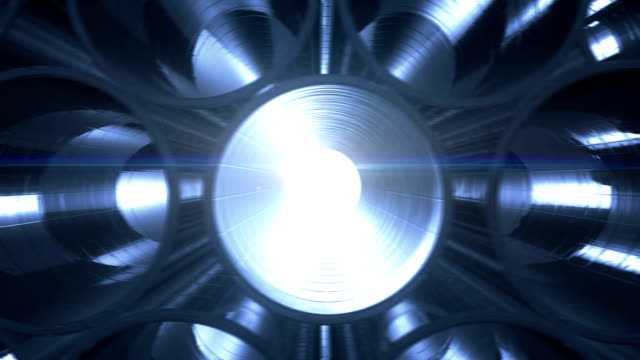 Metal Pipes with blue reflections and flares inside. Looped animation. Steel pipes at metal factory. video