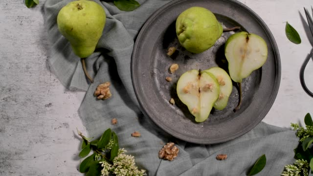Metal plate with delicious ripe pears