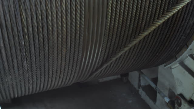 Metal rope wound on winch drum video