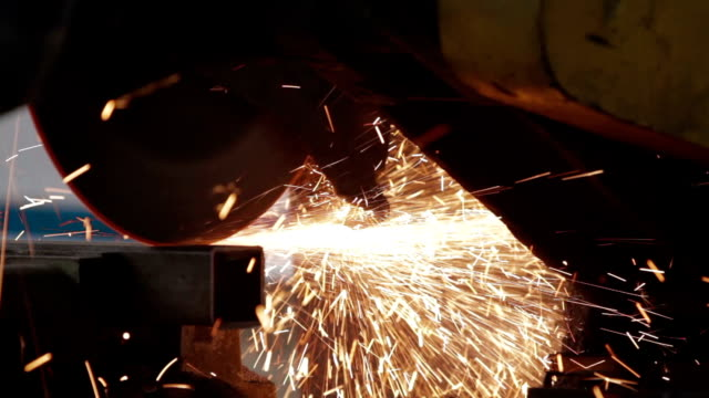 Metal saw cutting steel billet video