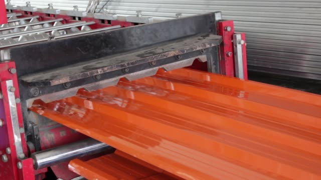 metal sheet roof rolled by machine video