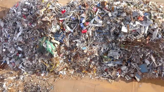 Metal Waste Close Up Aerial View