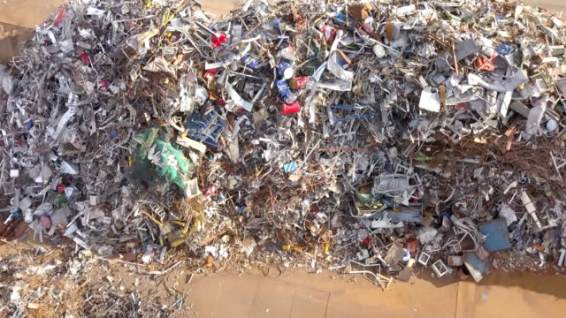 Metal Waste Close Up Aerial View - video