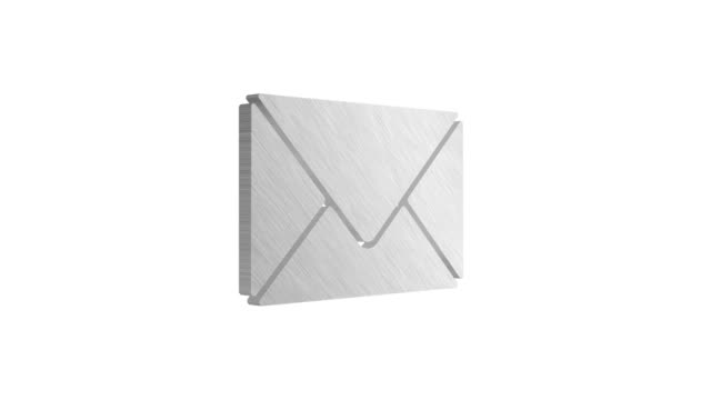 4K 3D Metallic Envelope icon Animation on white background 4K 3D Metallic Envelope icon Rotating Animation with flare effect on white background email icon stock videos & royalty-free footage