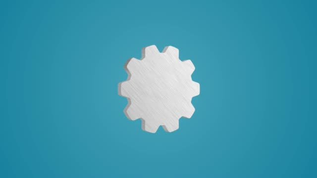 4K 3D Metallic Gear icon Animation on blue background