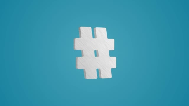4k 3d metallic hashtag symbol animation auf blauem hintergrund - social media icons stock-videos und b-roll-filmmaterial