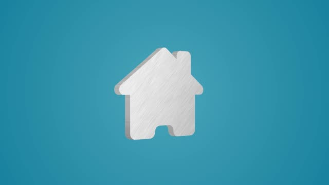 4K 3D Metallic Home icon Animation on blue background
