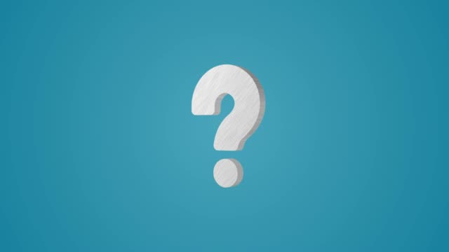 4K 3D Metallic Question mark Animation on blue background