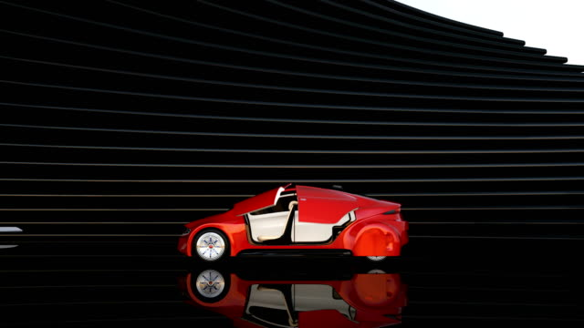 Metallic red autonomous car on abstract background video