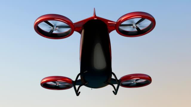 하늘을 날고 금속 빨간 자체 운전 여객 항공기 - 무인항공기 스톡 비디오 및 b-롤 화면