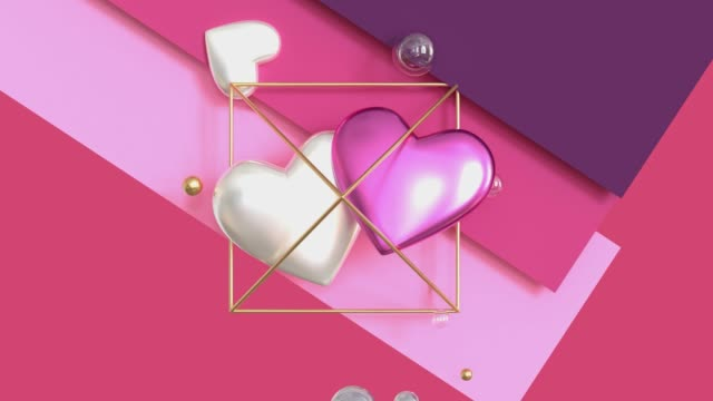 metallic shiny geometric heart shape floating 3d render motion pink background video