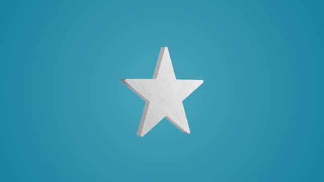 4K 3D Metallic Star icon Animation on blue background