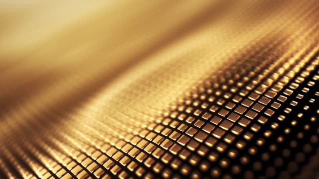 vídeos de stock e filmes b-roll de metallic wave background (gold) - loop - gold