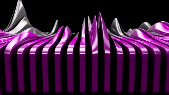 metallic wave shapes flowing motion, glossy hi-tech futuristic style - full hd format video stock e b–roll