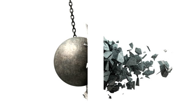 Metallic Wrecking Ball Shattering The Wall. Side View. Metallic Wrecking Ball Shattering The Wall. Side View. 3D Animation. demolishing stock videos & royalty-free footage