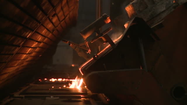metallurgical industrial factory: melting metal - alluminio video stock e b–roll