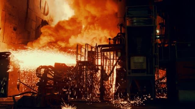 Metallurgical plant - Start steel furnace Metallurgical plant - Start steel furnace metallurgy stock videos & royalty-free footage