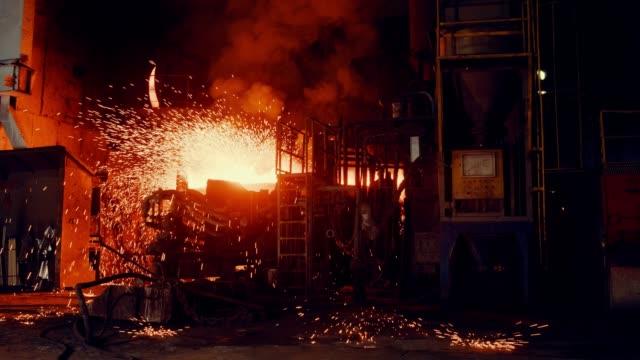 Metallurgical plant - Start steel furnace Metallurgical plant - Start steel furnace foundry stock videos & royalty-free footage
