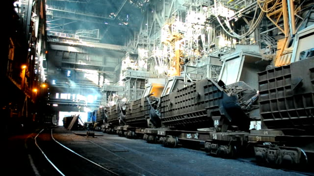 metallurgical works rail freight transportation of scrap metal at steel plant steel mill stock videos & royalty-free footage