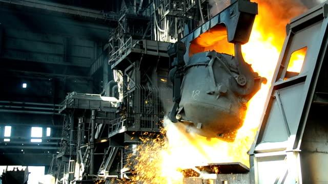 metallurgical works steel smelting in furnace at metallurgical works steel mill stock videos & royalty-free footage