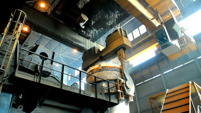 metallurgical works ladle full of molten metal at steel mill steel mill stock videos & royalty-free footage
