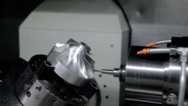 Metalworking CNC milling machine. Cutting metal modern processing technology. video