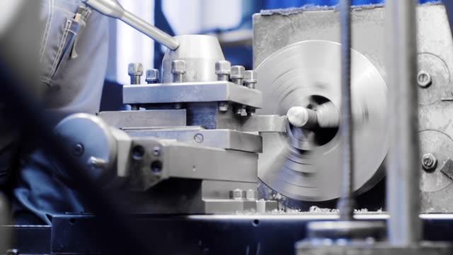 Metalworking milling machine. Cutting metal modern processing technology. Lathe