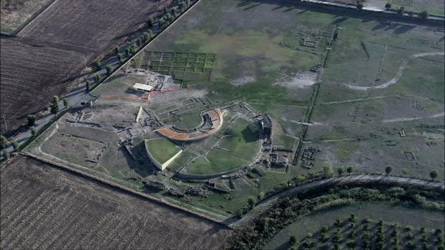 Metapontum  - Aerial View - Apulia, Provincia di Taranto, Castellaneta, Italy Greek theatre ruins at Metaponto old ruin stock videos & royalty-free footage