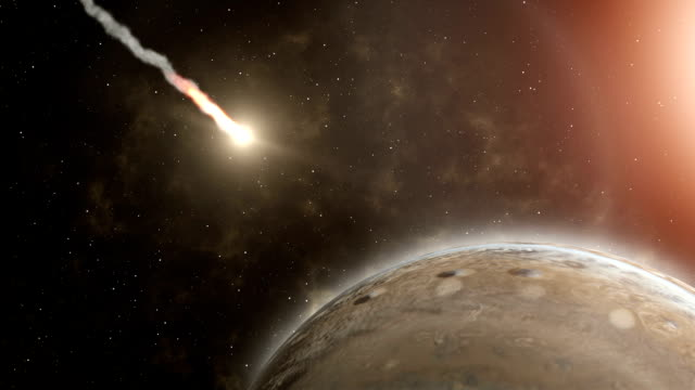 meteor flies to jupiter, and explosion - stock footage - jowisz filmów i materiałów b-roll