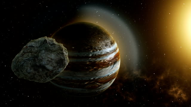 meteor flies to jupiter - jowisz filmów i materiałów b-roll