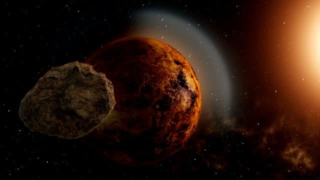 meteor flies to venus - venus filmów i materiałów b-roll