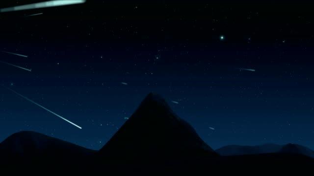 산에 밤 하늘에서 유성 이나 별 똥 별 조명. - 유성 스톡 비디오 및 b-롤 화면