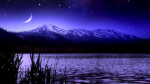 Meteor over lake and mountains video