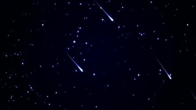 유성우, 별이 빛나는 하늘 - 유성 스톡 비디오 및 b-롤 화면